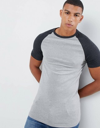 Asos DESIGN muscle fit crew neck t-shirt with contrast raglan
