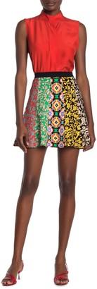 Alice + Olivia Bunnie Mixed Colorblock Mini Skirt