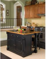 Home Styles Monarch Kitchen Island in Black with Oak Top, Granite Inlay and Two Stools