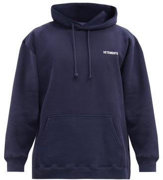 Vetements Logo-print Cotton-blend Jersey Hooded Sweatshirt - Navy