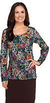 Isaac Mizrahi Live! Floral Lace Pattern Long Sleeve Top
