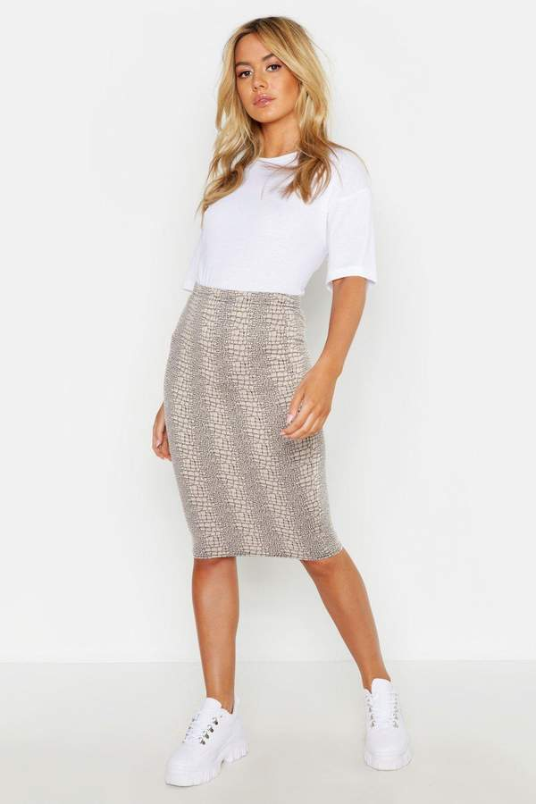 boohoo Petite Animal Print Midi Skirt