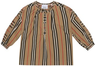 BURBERRY KIDS Striped and check cotton top