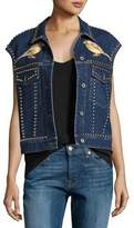 Stella McCartney Embroidered Bird & Floral Studded Denim Vest, Blue
