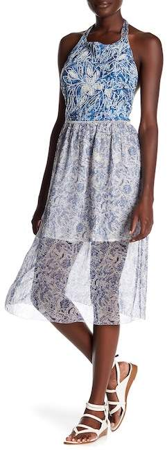 Gypsy 05 Gypsy05 Embroidered Trim & Pattern Halter Midi Dress