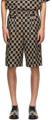 Burberry Black and Beige Check Dan Shorts