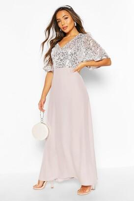 boohoo Petite Occasion Sequin Angel Sleeve Maxi Dress