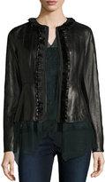 Elie Tahari Cam Crochet-Trim Leather Peplum Jacket, Black