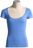Body Bark Deep Scoop Neck Shirt - Micromodal®, Short Sleeve (For Women)