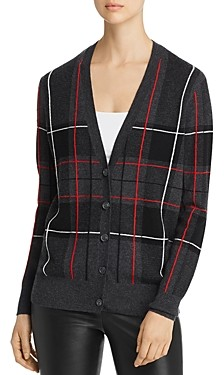 C by Bloomingdale's Plaid Cashmere Grandfather Cardigan - 100% Exclusive