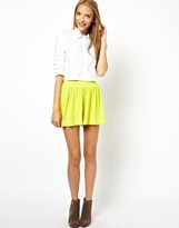 Asos High Waisted Culotte Shorts - Lime