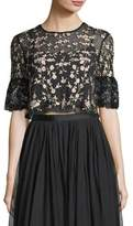 Needle & Thread Climbing Blossom Floral-Embroidered Tulle Top