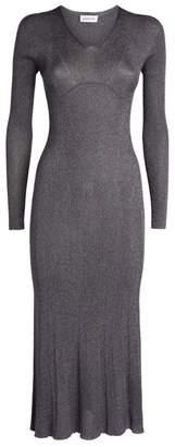 Lanvin V-Neck Lurex Midi Dress