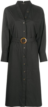 Seventy belted waist V-neck shirt dress