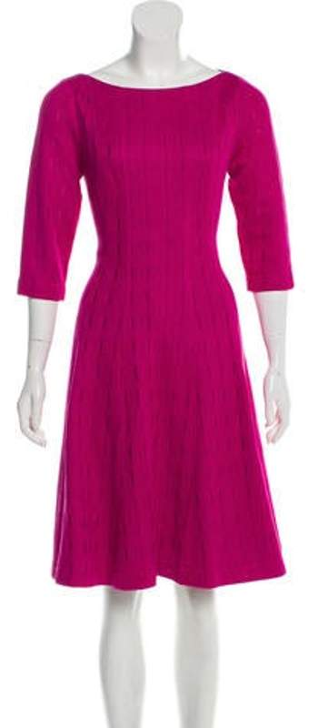 Lela Rose Scoop Neck Bodice Dress Fuchsia Scoop Neck Bodice Dress