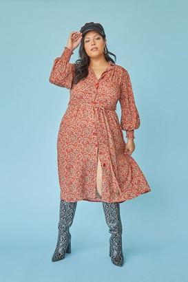 Forever 21 Plus Size Paisley Print Shirt Dress