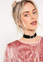 Missguided Black Diamante Heart Choker Necklace