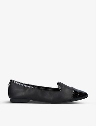 Carvela Mercy croc-embossed patent-toe leather flats