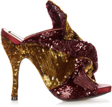 No.21 NO. 21 Bow-front sequin mules