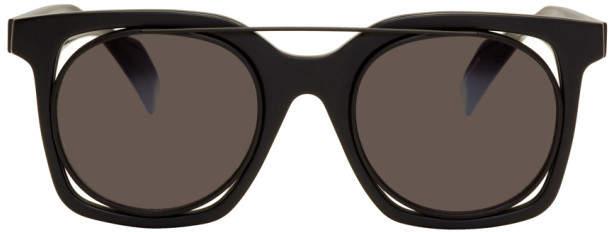 Yohji Yamamoto Black Square Wire Frame Sunglasses