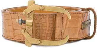 Gianfranco Ferré Pre Owned 2000's Crocodile Effect Belt