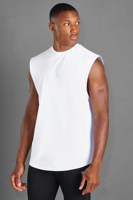 boohoo Mens White MAN Active Loose Fit Drop Armhole vest, White
