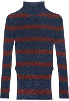 Cédric Charlier Striped Metallic Ribbed-knit Turtleneck Sweater - Navy