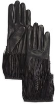 Agnelle Leather Gloves with Fringe