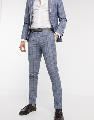 Twisted Tailor skinny suit trousers in blue check with contrast piping