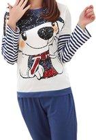 Black Temptation Cotton Pajamas Set Long-sleeved Sleepwear Leisure Nightgown(Rabbit Blue Stripes)