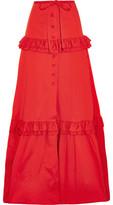 Alexis Henna Ruffle-Trimmed Cotton-Blend Maxi Skirt