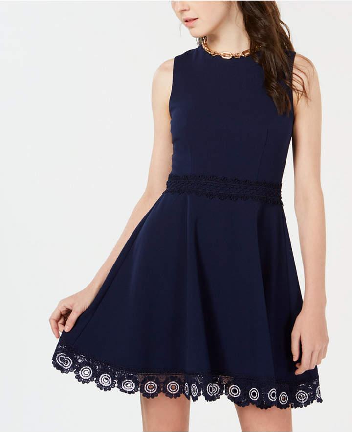B. Darlin Juniors' Crochet A-Line Dress