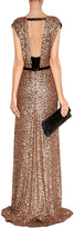 Jenny Packham Black/Blush Sequined Silk Gown