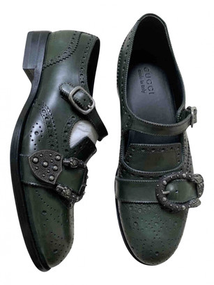 Gucci Queercore Green Leather Lace ups