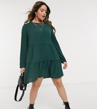 ASOS DESIGN Curve long sleeve tiered smock mini dress in green