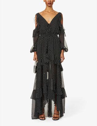 Dundas Polka-dot frilled silk-crepe maxi dress