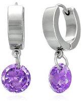 Beautiful Silver Jewelry Stainless Steel Small Hoop Huggie Earrings with 8mm Purple Dangle in Gift Box