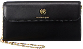 Alexander McQueen Embossed Logo Leather Wallet On Chain