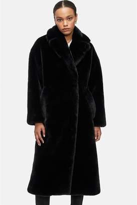 Anine Bing Sasha Faux Fur Coat - Black