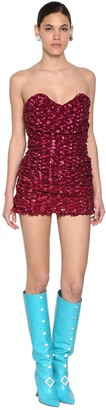 Giuseppe di Morabito Sequined Strapless Ruffled Mini Dress