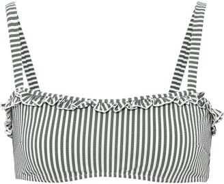 Solid & Striped The Leslie Striped Stretch-seersucker Bikini Top