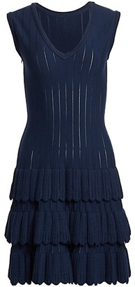 Alaia Sleeveless Scalloped Tiered Wool-Blend Knit Dress