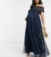 Thumbnail for your product : Maya Maternity Bridesmaid off shoulder maxi tulle dress with tonal delicate sequin in navy
