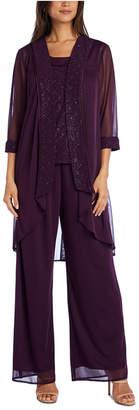 R & M Richards 3-Pc. Glitter-Embellished Pantsuit