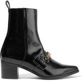 Stella McCartney Chain-embellished Faux Patent-leather Ankle Boots - Black