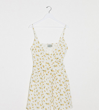 Asos DESIGN Tall tie wrap around crinkle mini sundress in ditsy floral