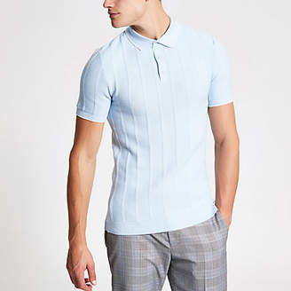 River Island Blue knitted stitch muscle fit polo shirt
