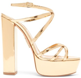 Aquazzura Gin 140 Metallic-leather Platform Sandals - Gold