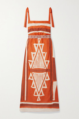 Johanna Ortiz Net Sustain Regions Of Myth Belted Printed Organic Cotton-voile Maxi Dress - Orange