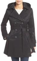 Halogen Petite Women's Detachable Hood Trench Coat